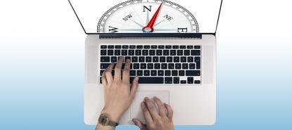Compas de navigation affiché sur un écran d'ordinateur
