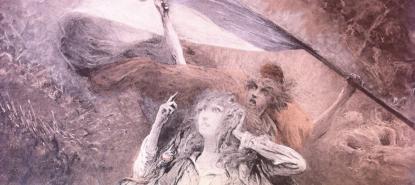 Clairin, Théroigne de Méricourt, dans L'Art du théâtre, février 1903, à l'occasion de la pièce de Paul Hervieu avec Sarah Bernhardt dans le rôle-titre.